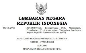 PP Nomor 11 Tahun 2017 tentang Manajemen PNS